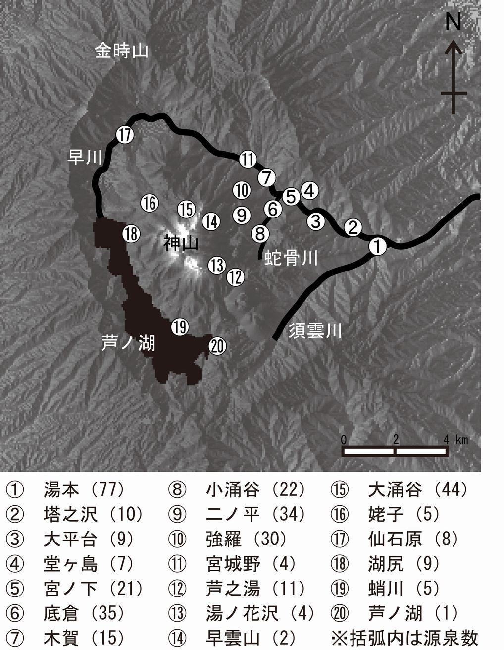 箱根二十湯と各温泉場の源泉数。源泉数は小田原保健福祉事務所による2012年3月末のデータ。
