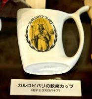 チェコのカルロビバリの陶磁器の飲泉カップ(温泉地学研究所展示コーナーより)