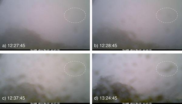 大涌谷駐車場近くに設置したタイムラプスカメラ(一定時間ごとに自動的に撮影するカメラ)が撮影した6月29日12時台〜13時台の画像