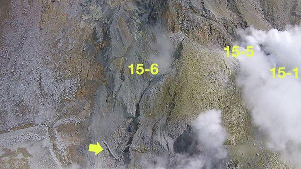 ドローンによる15-6火口付近の映像(7月15日撮影)