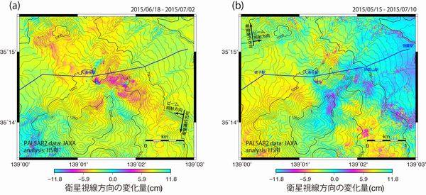 6月29日〜30日のごく小規模な噴火を挟む干渉ペアの解析結果