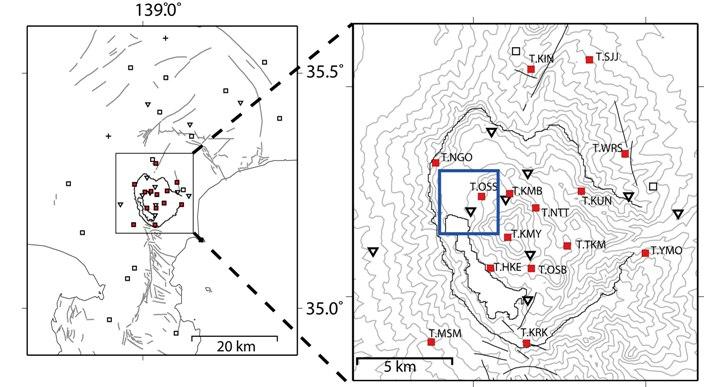 箱根カルデラ域に構築された観測点分布