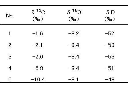 炭素、酸素および水素同位体比の測定結果。