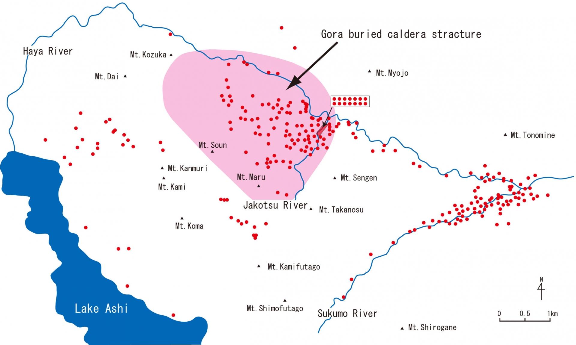箱根温泉の分布と強羅潜在カルデラ構造の位置