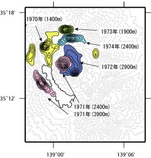 推定された、群発地震の震源域
