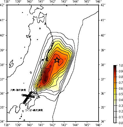 強い地震波を放出した領域の推定
