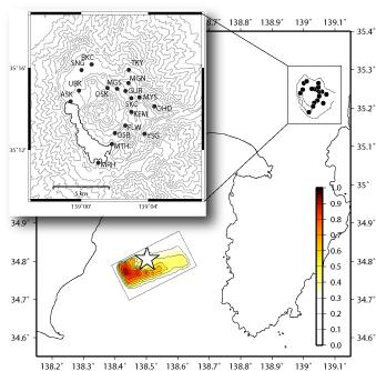 観測点分布と推定されたアスペリティの位置