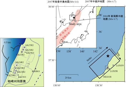 図1:震源断層と観測点