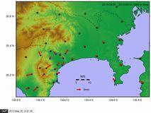 GPSデータから推定した変位ベクトル