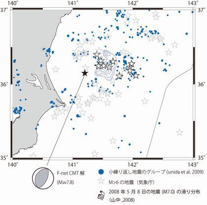 震源域周辺の地震活動と最大余震のメカニズム解