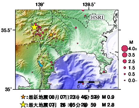 最新30日間の震源分布図